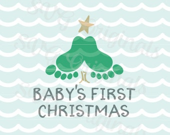 Baby's First Christmas SVG art File. Baby feet christmas tree. Cricut Explore and more! So fun! My first Christmas.