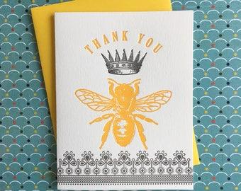 Thank You Queen Bee Letterpress Card
