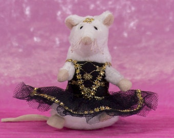 Mouse dancer black and gold, small mouse dancer