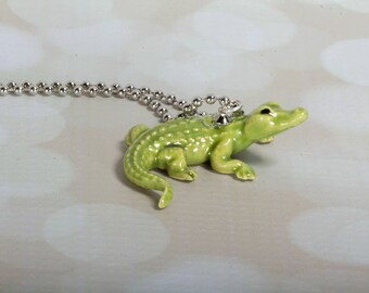 Alligator Necklace -  Alligator Pendant Necklace -  Animal Necklace - Alligator  - Handmade Necklace - Alligator - Alligator Jewelry- Gator