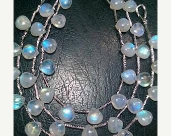 80% OFF SALE 10 Pieces Rainbow Moonstone Heart Shape Briolette Beads