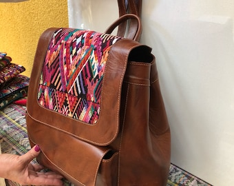 Backpack Huipl and grain leather