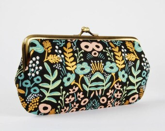 Frame purse with two sections - Tapestry black - Wowlet / Wallet / Japanese fabric / Cotton and Steel / Rifle Paper Co Menagerie / Gold