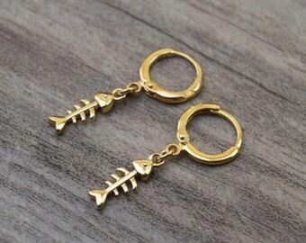 gold fishbone hoops endless hoop huggie dangle earring simple earrings everyday/gift for her