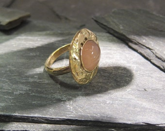 Big pink Chalcedony ring gold plated, handmade in France.