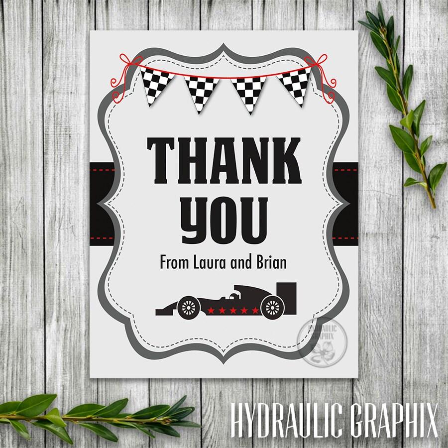 Race Car Thank You Card Thank You Card Race Car Theme Baby Il Fullxfull  Race Car Thank You Card Thank You Card Thank You Cards Walmart Tags