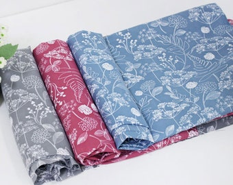 Forest story Polyester Fabric / BY HALF YARD / red grey blue floral flowers leaf leaves / Ykfabrics JCB80+