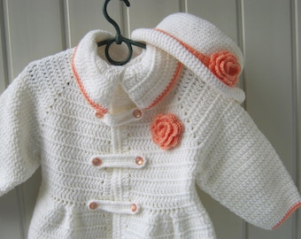 Crochet set, Coat with Hat, Children's Coat, Knitted coat and hat, A gift for a little girl, White coat, A white hat,Knitted clothes, Ready