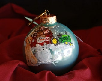 HAND PAINTED ORNAMENT - Yellow Lab, Tractor -  Item 158