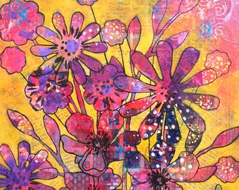 Mixed media on wood, 10 x 10 in, 'Sun', painting, canvas, flowers, spring, summer and art collections, contemporary, decor