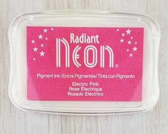 Neon Ink Pad - Radiant Neon Electric Pink Pigment Ink Pad Large - Ink for stamp - Inkpad for Rubber Stamp - Bright Pink Ink - Pink Ink