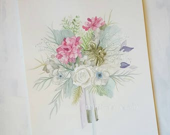 Custom Bouquet Watercolor Painting - Custom Bouquet Painting - Wedding Gift - Anniversary Gift - Floral Painting - Watercolor Painting
