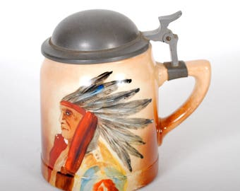 Vintage Beer Stein Hand Painted with Indian Chief