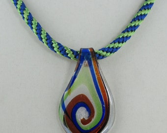 Blue and Green Kumihimo Necklace with Glass Pendant