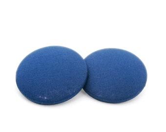 Dark blue earrings, Large post earrings, Something blue, Stud earrings, Fabric earrings, Blue button earrings, Hypoallergenic sutds