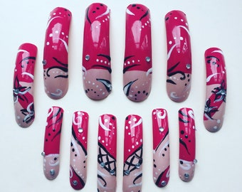140 A set of hand painted false nails. Full cover. Extra Long CLAW (fetish) Nails. Red Flower
