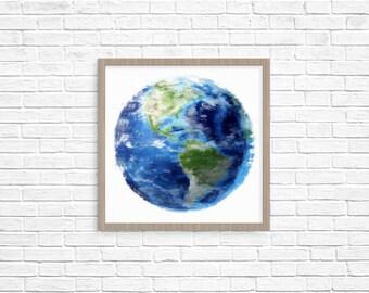 Wall Art Decor, Earth Art Printable, Globe Art Print, INSTANT Download, Geometric Art, Printable Poster, Space Wall Art, Circle Print art