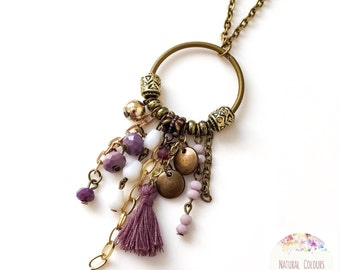 Tassel Necklace Boho Necklace Chain Necklace Purple Necklace Pendant Necklace Long Necklace Everyday Necklace Ethnic Necklace Gift for her