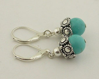Turquoise Sterling Silver Lever Back Earrings 22