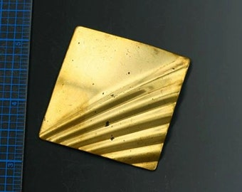 "Large brass square stamping. Vintage stamping. 2"". Sold per piece. Beadwork, Jewelry making, Jewelry supply."