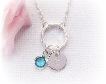 Birthstone Necklace,circle pendant, birthstone Jewellery,Necklace jewellery, circle necklace,Birthstone, eternity necklace, SF2BNCN1