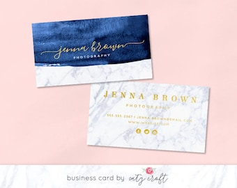 Marble Business Card | Watercolor Business Card | Marble Business Card Design | Premade Business Card