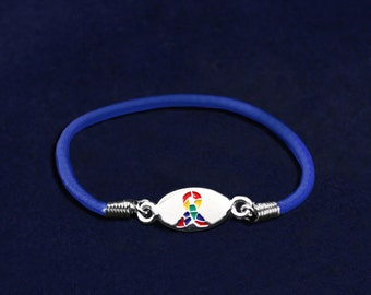 Autism Ribbon Stretch Bracelet (RE-B-55-2)