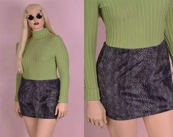 90s Guess Animal Print Fuzzy Skirt/ Size 29/ 1990s/ Mini Skirt