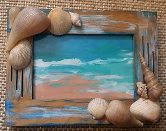 Gorgeous Beach Painting  with Hand Painted Beach Frame Coastal Cottage Seashells Distressed