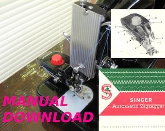 Singer sewing, Manual, Zigzagger attachment, Zig zag attachment, Singer instructions, Zig Zagger, Sewing machine, attachment, Zigzag foot, s