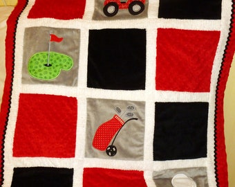 "Appliqued Golf Baby Blanket, Minky, ""Love To Golf"""