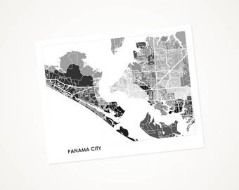 Panama City Map Print.  Choose the Colors and Size.  Florida Panhandle Wall Art.  FL Beach Decor.