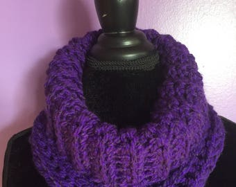 Crochetd cowl cara cowl chunky cowl chunke neck warmer purple cowl ladies neck accessory soft chunky cowl trendy scsrf