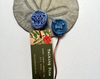 Watercolour Blue Sheep and Rabbit Shawl Pin  handmade clay knitting accessory imprinted on 2 sides