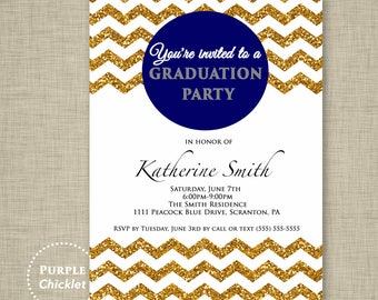 Class of 2018 Graduation Party Invite Navy Blue Gold Sparkle Glitter Effect Chevron Invite Adult Party Invite Printable JPG File 11a
