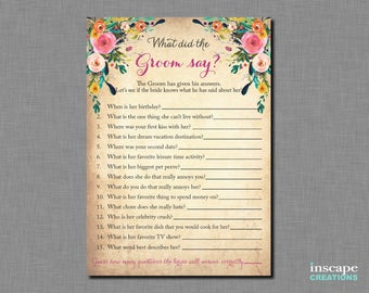 Shabby Chic, What did the Groom Say about his Bride? Bridal Shower, Newlyweds Game, What did He Say about Her, Who Knows Groom Best? Game