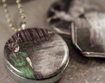 Girl With Antlers Necklace - Wolf Locket, Deer in Dark Forest, Eco Friendly Magnetic by Polarity, StudioMME Artwork