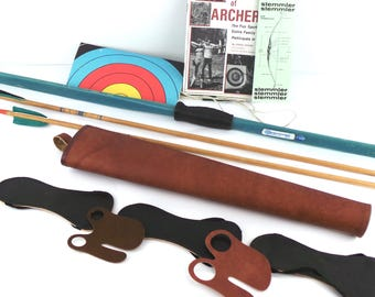 Stemmler Bow and Arrow Set, Fiberglass Bow and  2 Wooden Feather Arrows w/instruction Book Quiver and Accessories, Bow and Arrow, Archery