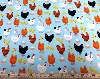 Farm Life animals chickens hens roosters Henry Glass cotton quilt fabric by the fat quarter (50cm x 55cm) more available