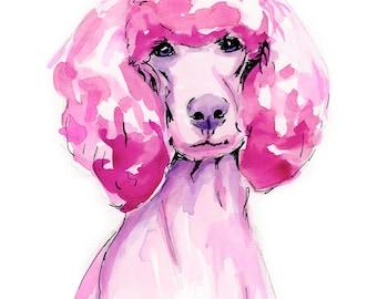 Pink Poodle Watercolor Print