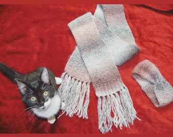 Set scarf and pink headband