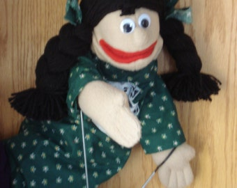 Girl hand puppet tan skin black yarn braids green dress moveable mouth 2 arm rods