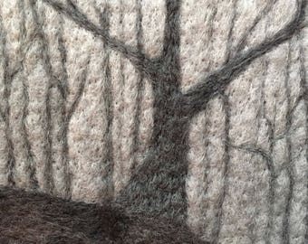 Wolf Tree - Original Felted Wool Art from foggy Appalachian Trail near Smoky Mountains National Park in North Carolina