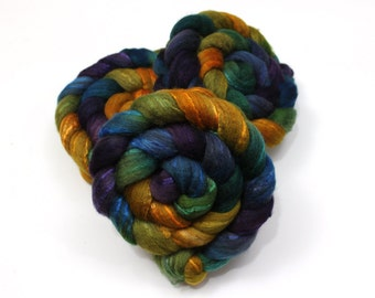 Oatmeal BFL Wool/ Silk Roving - Handpainted Felting or Spinning Fiber