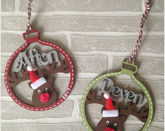 Christmas Reindeer Rudolph Wooden Personalised Bauble Decoration