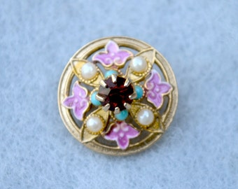 Tiny Rhinestone and Enamel Pin Vintage