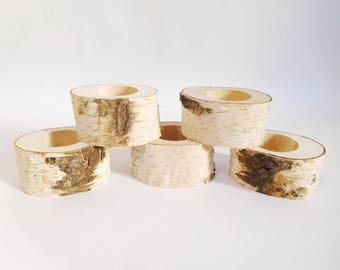 Birch log candle holder, Rustic birch candle holder, Wood tealight holder, Wooden candle holder, Rustic wedding decor, Woodland baby
