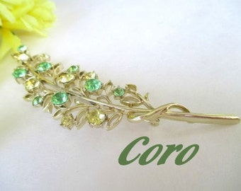 CORO Pin / Brooch * Branch Shape * Yellow And Green Rhinestones * Gift For Lady * Classic Vintage