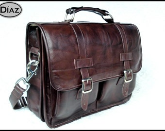 DIAZ Large Leather Messenger Briefcase / Backpack Laptop Bag Antique Dark Brown - (17in MacBook Pro) - Free Shipping -