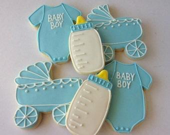 Baby Boy Congratulations Shower Favors Blue Sugar Cookies - one dozen